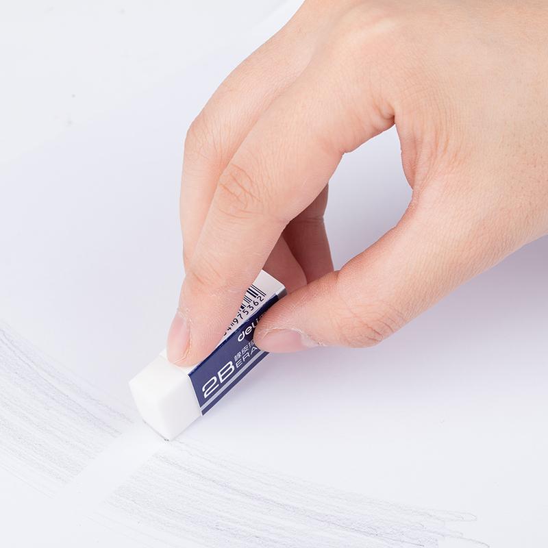 得力(deli)7536 考试美术办公2B橡皮擦 白色
