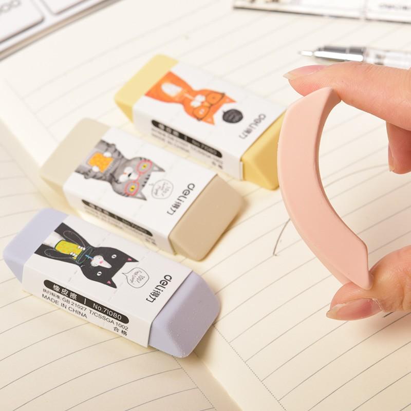 得力(deli)橡皮擦擦得干净不留痕创意卡通可爱文具学习用品 71080【斜面橡皮擦】30