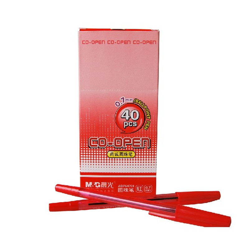 晨光(M&G)ABP64701 尚诚子弹头圆珠笔 0.7mm 40支装 红色