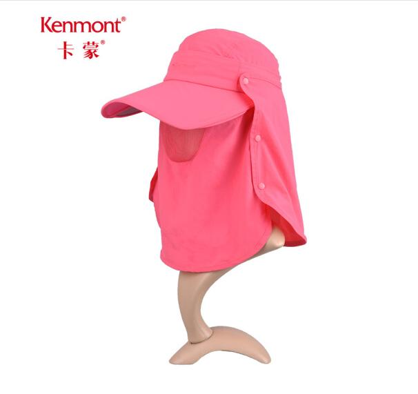 卡蒙(kenmont)极限挑战明星同款防晒帽夏伸缩遮阳帽登山帽女 3274 桃红色 可调节 56.5cm
