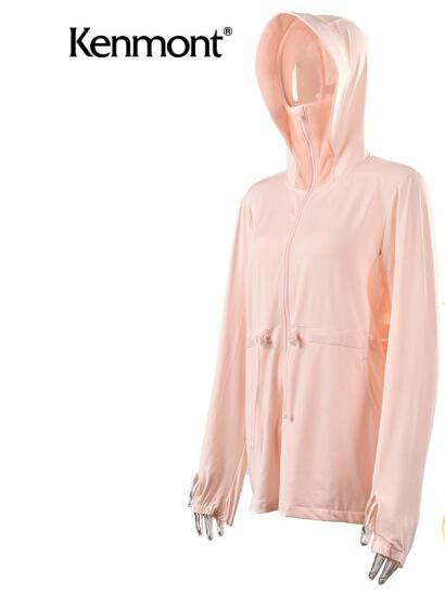 卡蒙(kenmont)夏季女士 防紫外线防晒衣 中长款连帽 3592 淡粉色 S