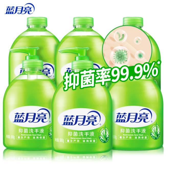 蓝月亮 芦荟抑菌洗手液套装:洗手液瓶500g*3+瓶装补充装500g*3 抑菌率99.9% 家庭补充装 泡沫丰富