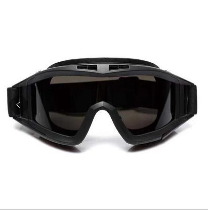 百舸 护目镜 防风透明防尘防飞溅劳保防护 骑行摩托车 男 黑色框茶色镜片