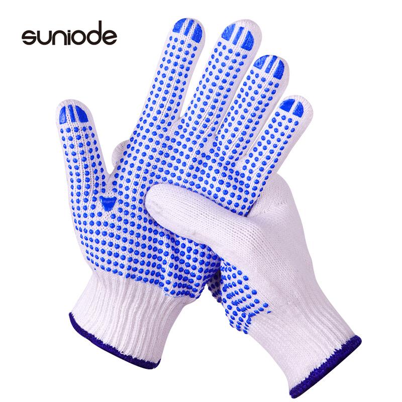 善妮欧德(suniode)线点胶手套耐磨劳保手套PVC点塑防滑棉线手套 10双/组 防滑耐